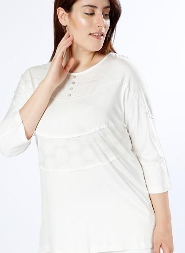 Ekol Ekol Yarasa Kol Ekru T-Shirt Ekru